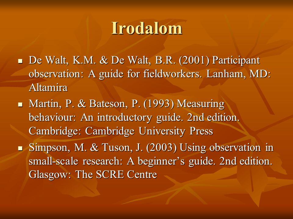 Irodalom De Walt, K.M. & De Walt, B.R. (2001) Participant observation: A guide for fieldworkers.