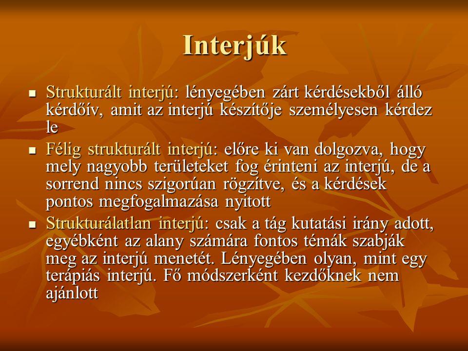 Interjúk Strukturált interjú: lényegében zárt kérdésekből álló kérdőív, amit az interjú készítője személyesen kérdez le Strukturált interjú: lényegében zárt kérdésekből álló kérdőív, amit az interjú készítője személyesen kérdez le Félig strukturált interjú: előre ki van dolgozva, hogy mely nagyobb területeket fog érinteni az interjú, de a sorrend nincs szigorúan rögzítve, és a kérdések pontos megfogalmazása nyitott Félig strukturált interjú: előre ki van dolgozva, hogy mely nagyobb területeket fog érinteni az interjú, de a sorrend nincs szigorúan rögzítve, és a kérdések pontos megfogalmazása nyitott Strukturálatlan interjú: csak a tág kutatási irány adott, egyébként az alany számára fontos témák szabják meg az interjú menetét.