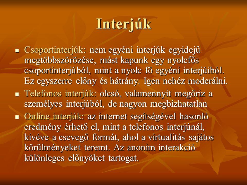 Interjúk Csoportinterjúk: nem egyéni interjúk egyidejű megtöbbszörözése, mást kapunk egy nyolcfős csoportinterjúból, mint a nyolc fő egyéni interjúiból.