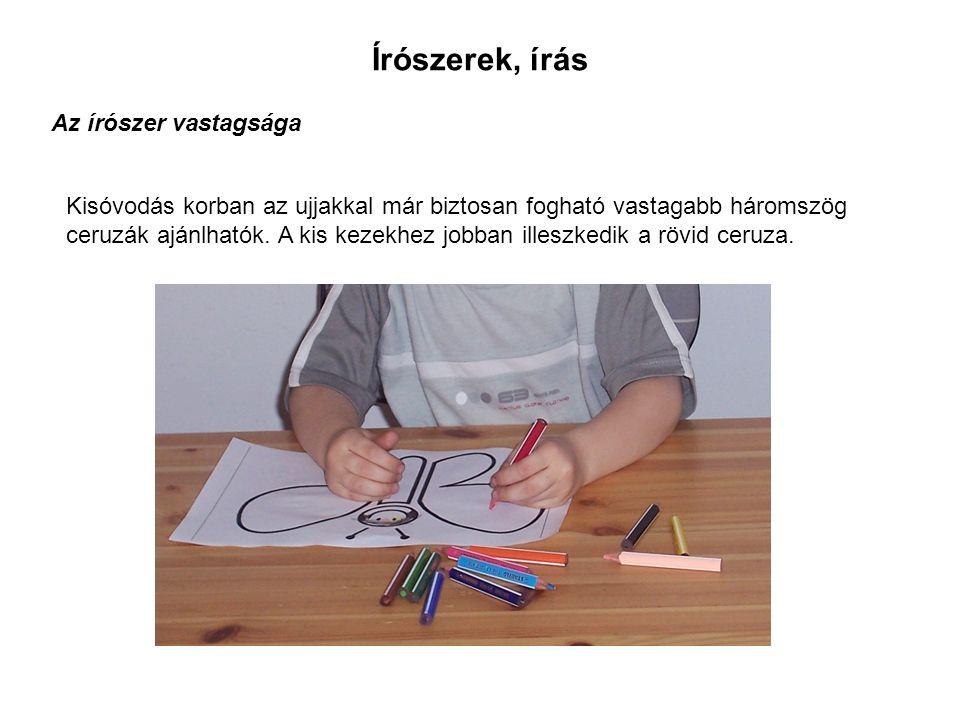 Kisóvodás korban az ujjakkal már biztosan fogható vastagabb háromszög ceruzák ajánlhatók.