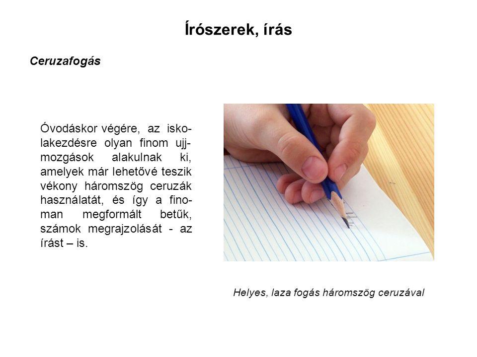 Óvodáskor végére, az isko- lakezdésre olyan finom ujj- mozgások alakulnak ki, amelyek már lehetővé teszik vékony háromszög ceruzák használatát, és így a fino- man megformált betűk, számok megrajzolását - az írást – is.