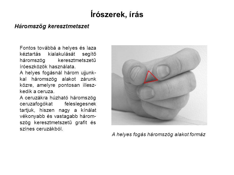 Írószerek, írás Háromszög keresztmetszet Fontos továbbá a helyes és laza kéztartás kialakulását segítő háromszög keresztmetszetű íróeszközök használata.