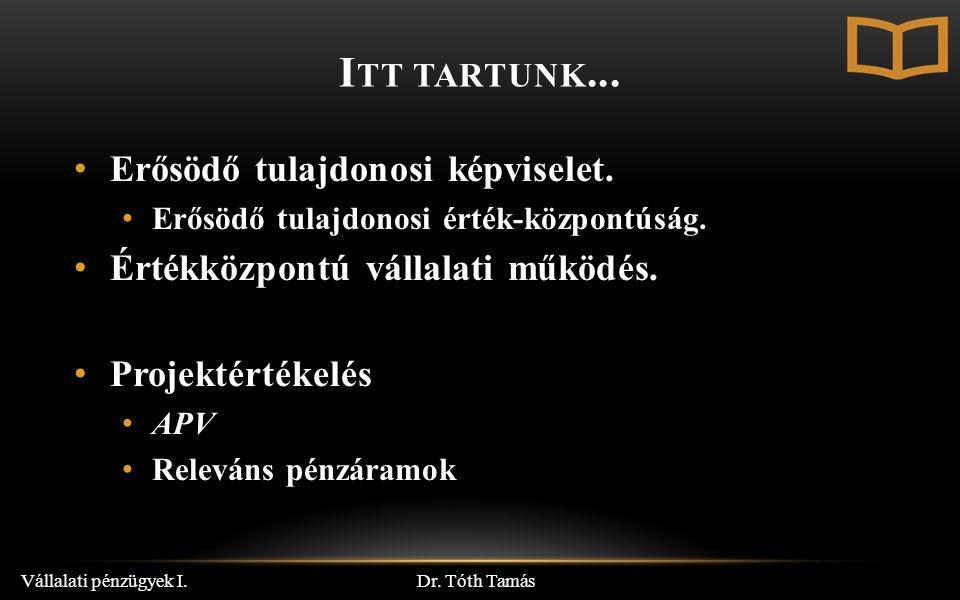I TT TARTUNK... Dr. Tóth Tamás Vállalati pénzügyek I.