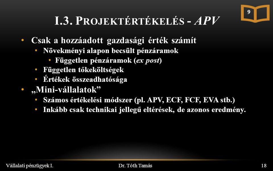 I.3. P ROJEKTÉRTÉKELÉS - APV Dr.