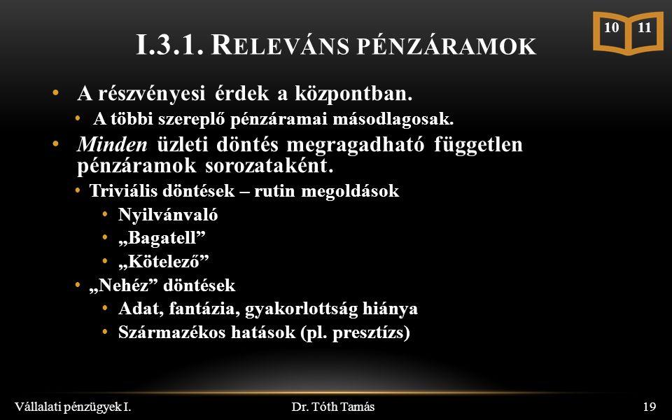 I.3.1. R ELEVÁNS PÉNZÁRAMOK Dr.