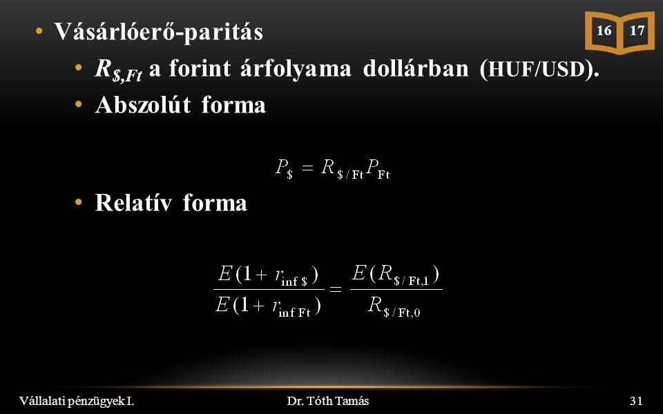 Vásárlóerő-paritás R $,Ft a forint árfolyama dollárban ( HUF/USD ).