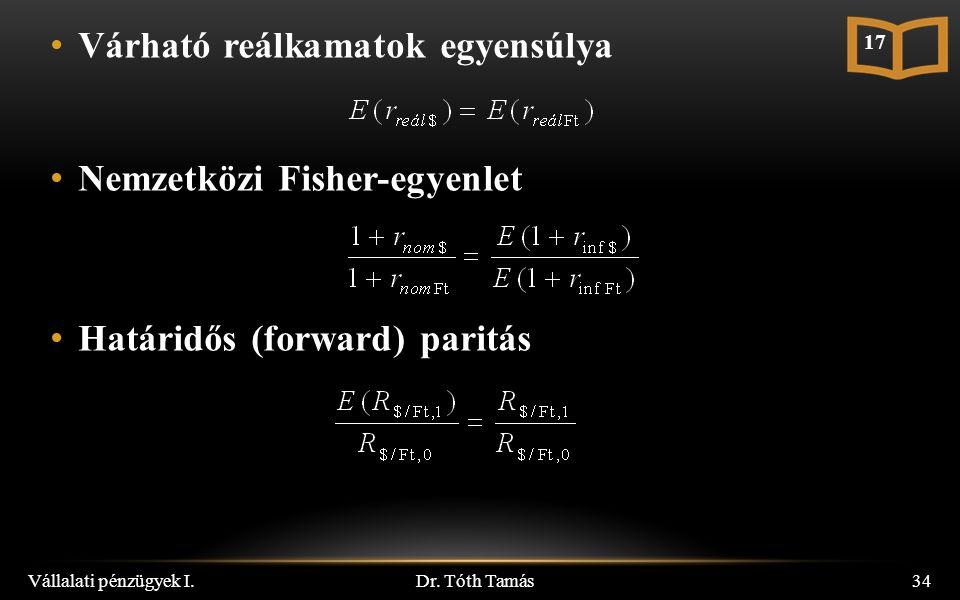 Várható reálkamatok egyensúlya Nemzetközi Fisher-egyenlet Határidős (forward) paritás Dr.