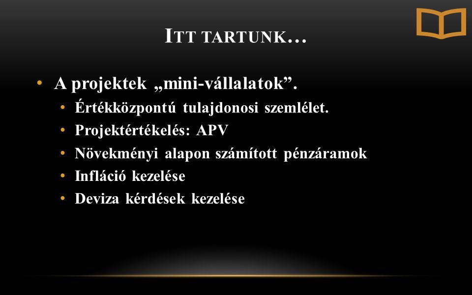 """I TT TARTUNK … A projektek """"mini-vállalatok . Értékközpontú tulajdonosi szemlélet."""