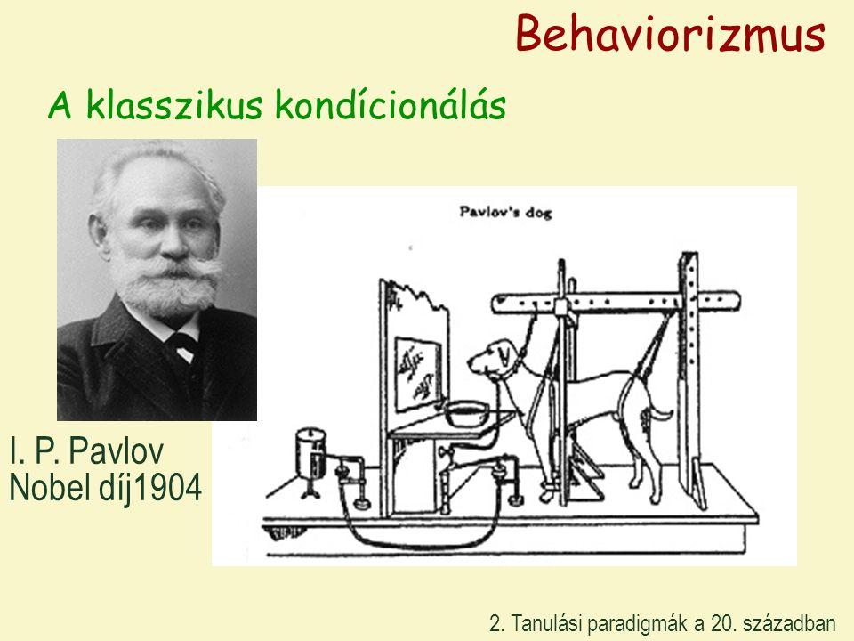 A klasszikus kondícionálás I. P. Pavlov Nobel díj1904 Behaviorizmus 2. Tanulási paradigmák a 20. században