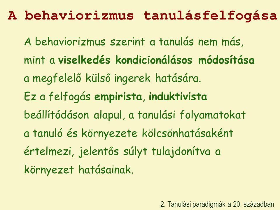 A behaviorizmus tanulásfelfogása 2. Tanulási paradigmák a 20. században A behaviorizmus szerint a tanulás nem más, mint a viselkedés kondicionálásos m