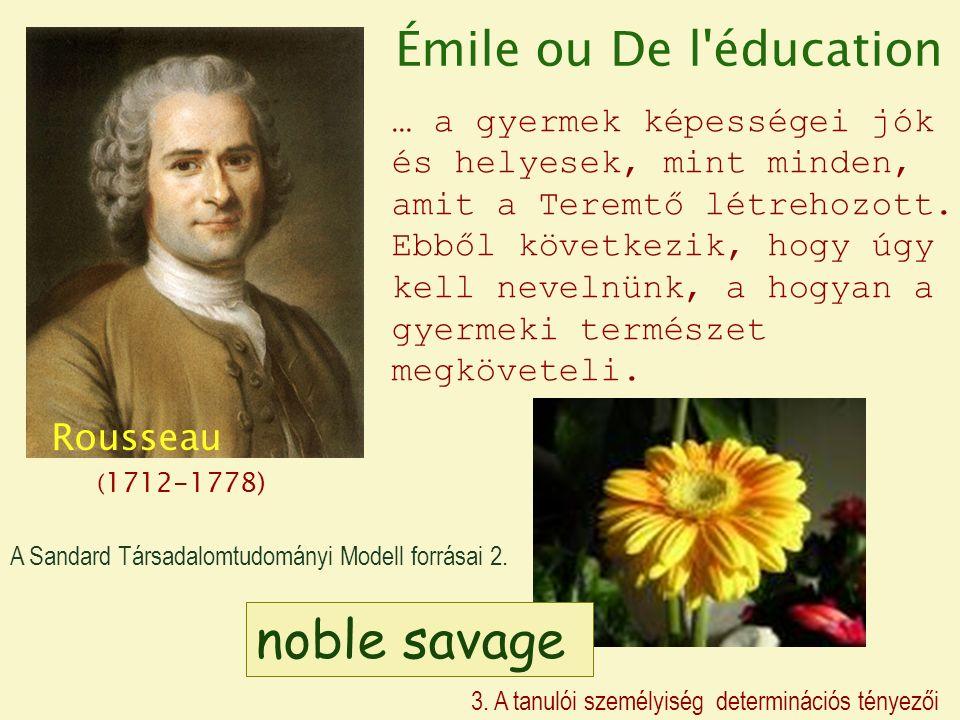 Rousseau ( 1712-1778) … a gyermek képességei jók és helyesek, mint minden, amit a Teremtő létrehozott.
