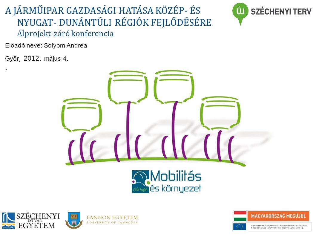 A JÁRMŰIPARI MUNKAERŐ UTÁNPÓTLÁS ÉS SZAKKÉPZÉS A KKE RÉGIÓIBAN A JÁRMŰIPAR GAZDASÁGI HATÁSA KÖZÉP- ÉS NYUGAT- DUNÁNTÚLI RÉGIÓK FEJLŐDÉSÉRE Alprojekt-záró konferencia Előadó neve: Sólyom Andrea Győr, 2012.