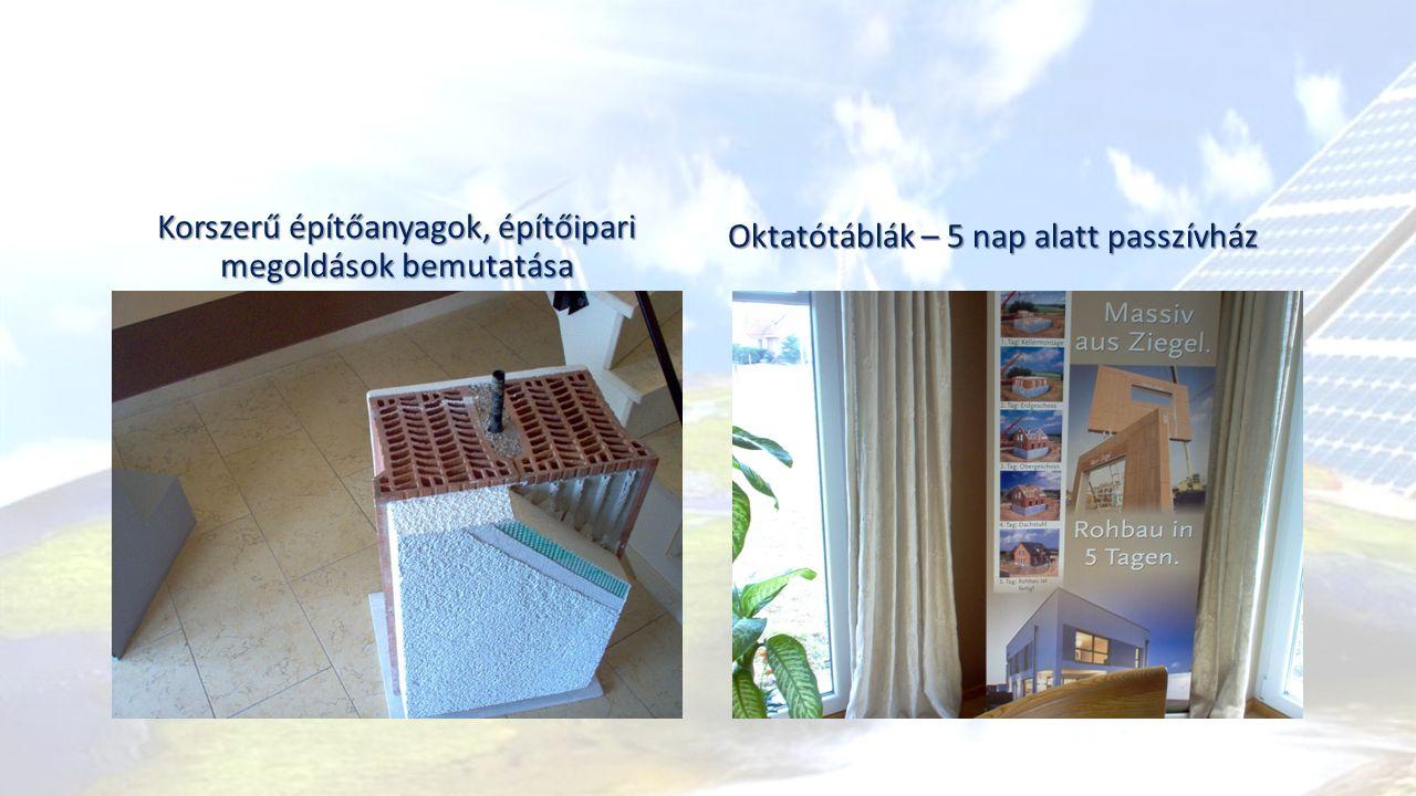 Korszerű építőanyagok, építőipari megoldások bemutatása Oktatótáblák – 5 nap alatt passzívház