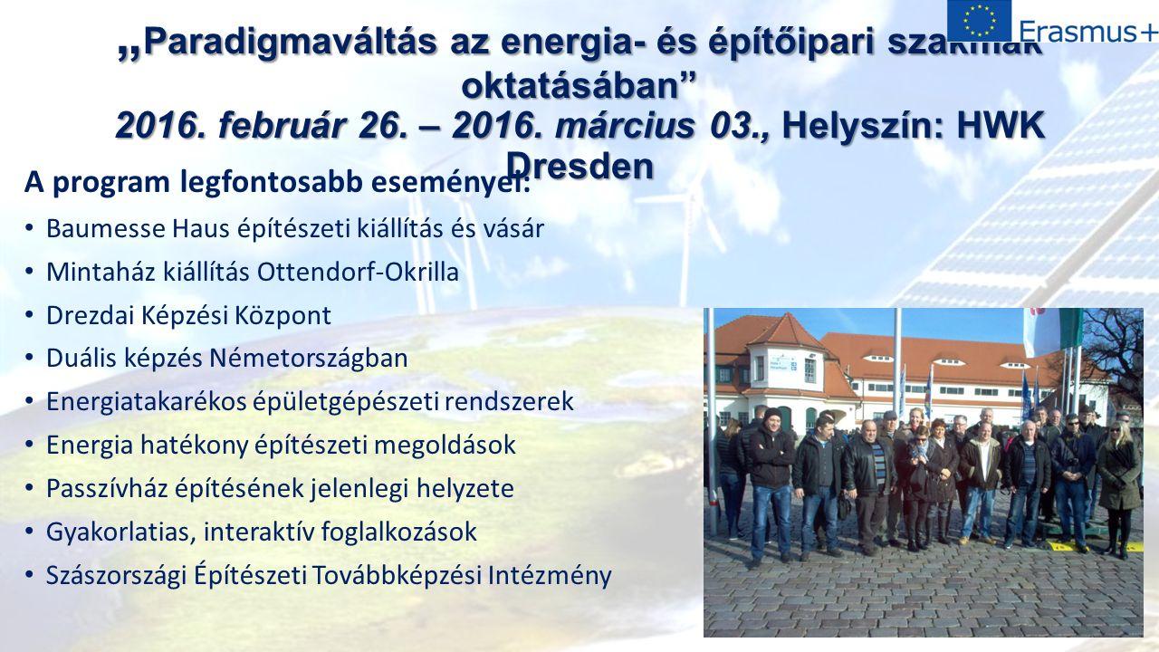""""""" Paradigmaváltás az energia- és építőipari szakmák oktatásában 2016."""