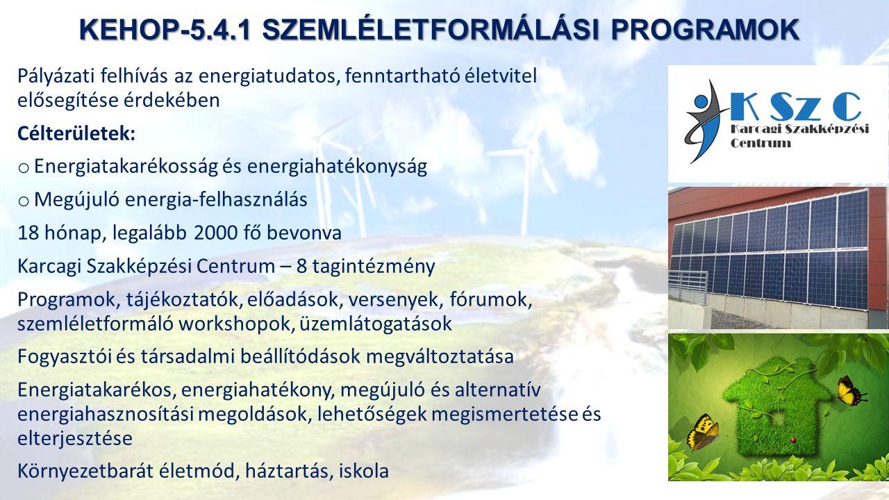 KEHOP-5.4.1 SZEMLÉLETFORMÁLÁSI PROGRAMOK Pályázati felhívás az energiatudatos, fenntartható életvitel elősegítése érdekében Célterületek: o Energiatakarékosság és energiahatékonyság o Megújuló energia-felhasználás 18 hónap, legalább 2000 fő bevonva Karcagi Szakképzési Centrum – 8 tagintézmény Programok, tájékoztatók, előadások, versenyek, fórumok, szemléletformáló workshopok, üzemlátogatások Fogyasztói és társadalmi beállítódások megváltoztatása Energiatakarékos, energiahatékony, megújuló és alternatív energiahasznosítási megoldások, lehetőségek megismertetése és elterjesztése Környezetbarát életmód, háztartás, iskola