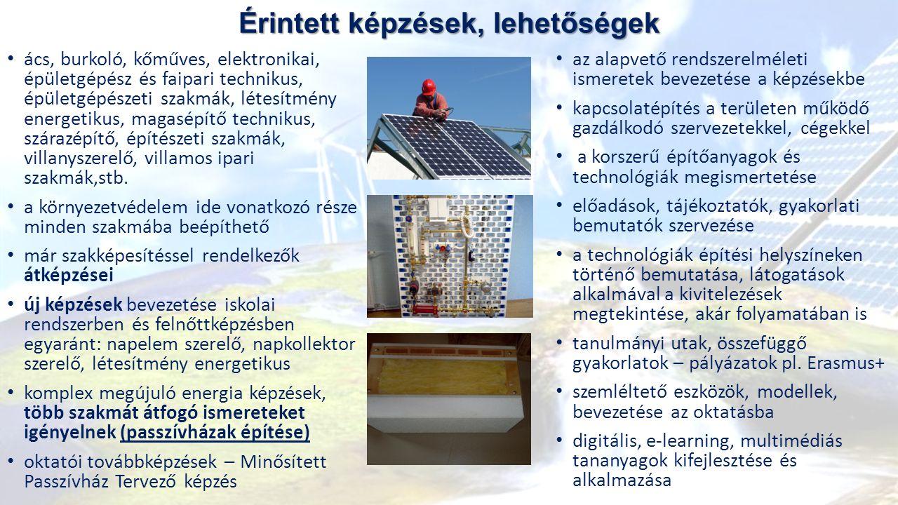 Érintett képzések, lehetőségek ács, burkoló, kőműves, elektronikai, épületgépész és faipari technikus, épületgépészeti szakmák, létesítmény energetikus, magasépítő technikus, szárazépítő, építészeti szakmák, villanyszerelő, villamos ipari szakmák,stb.