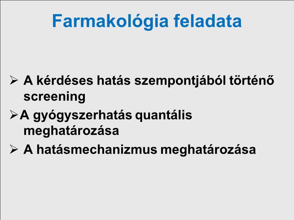 Történeti visszatekintés Élettan-farmakológia nem különült el 1809: Francois Magendie: strichnin görcskeltő hatásának támadáspontja spinális 1842: Claude Bernard curare hatásmechanizmusának bizonyítása 1847: Első farmakológiai tanszék megalapítása Észtországban (Dorpati (Tartu) egyetem, Rudolf Buchheim) 1872: Oswald Scmiedeberg a strassburgi egyetem farmakológia professzora –a modern farmakológia megalapítója 1878: Langley: a receptoron való hatás felvetése 1909: Ehrlich, a receptor terminológia bevezetése Corpora non agunt nisi fixata