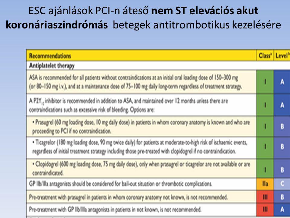 ESC ajánlások PCI-n áteső nem ST elevációs akut koronáriaszindrómás betegek antitrombotikus kezelésére