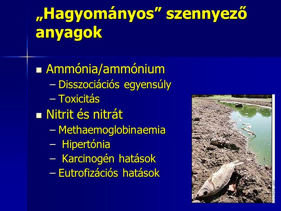 """""""Hagyományos szennyező anyagok Ammónia/ammónium Ammónia/ammónium –Disszociációs egyensúly –Toxicitás Nitrit és nitrát Nitrit és nitrát –Methaemoglobinaemia – Hipertónia – Karcinogén hatások –Eutrofizációs hatások"""