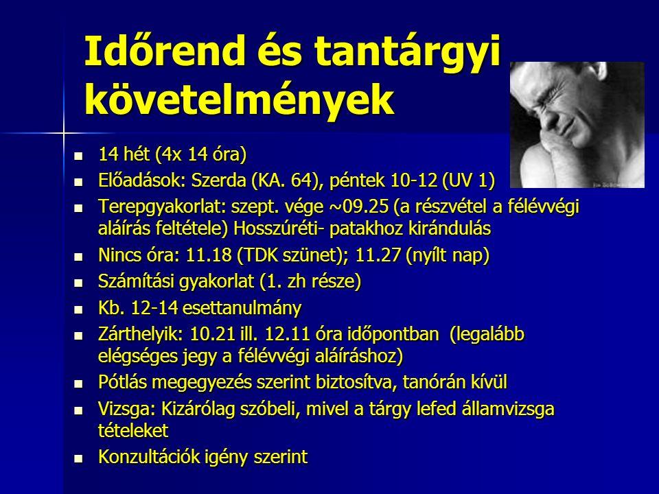 Időrend és tantárgyi követelmények 14 hét (4x 14 óra) 14 hét (4x 14 óra) Előadások: Szerda (KA.