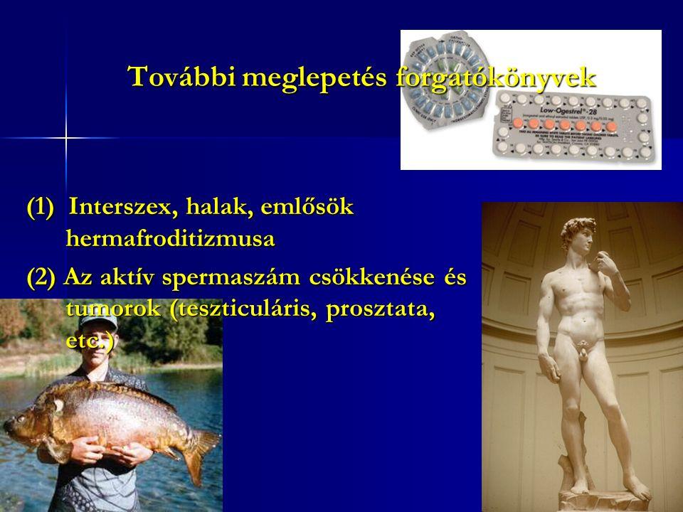 További meglepetés forgatókönyvek (1) Interszex, halak, emlősök hermafroditizmusa (2) Az aktív spermaszám csökkenése és tumorok (teszticuláris, prosztata, etc.)