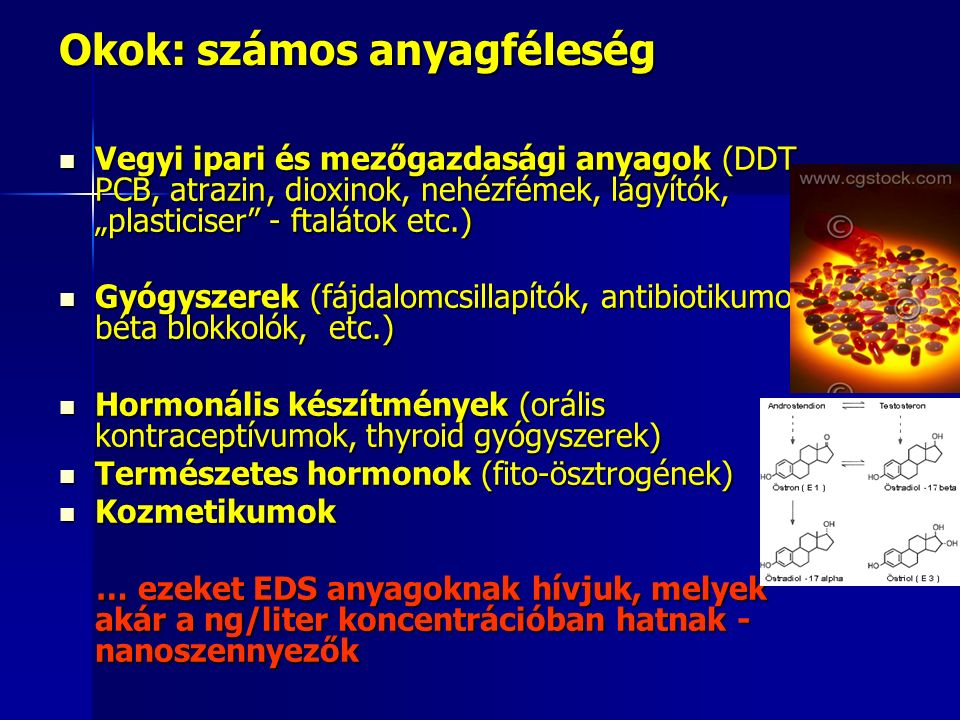 """Okok: számos anyagféleség Vegyi ipari és mezőgazdasági anyagok (DDT, PCB, atrazin, dioxinok, nehézfémek, lágyítók, """"plasticiser - ftalátok etc.) Vegyi ipari és mezőgazdasági anyagok (DDT, PCB, atrazin, dioxinok, nehézfémek, lágyítók, """"plasticiser - ftalátok etc.) Gyógyszerek (fájdalomcsillapítók, antibiotikumok, béta blokkolók, etc.) Gyógyszerek (fájdalomcsillapítók, antibiotikumok, béta blokkolók, etc.) Hormonális készítmények (orális kontraceptívumok, thyroid gyógyszerek) Hormonális készítmények (orális kontraceptívumok, thyroid gyógyszerek) Természetes hormonok (fito-ösztrogének) Természetes hormonok (fito-ösztrogének) Kozmetikumok Kozmetikumok … ezeket EDS anyagoknak hívjuk, melyek akár a ng/liter koncentrációban hatnak - nanoszennyezők … ezeket EDS anyagoknak hívjuk, melyek akár a ng/liter koncentrációban hatnak - nanoszennyezők"""