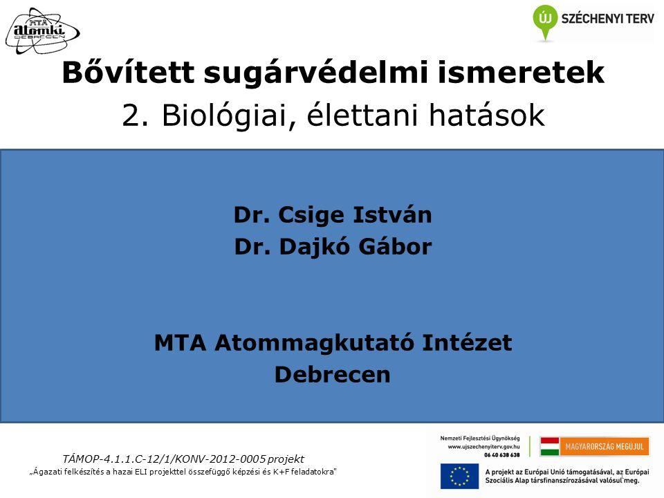 Bővített sugárvédelmi ismeretek 2. Biológiai, élettani hatások Dr.
