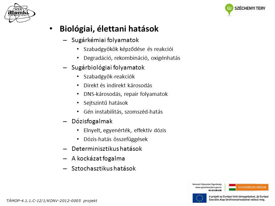 TÁMOP-4.1.1.C-12/1/KONV-2012-0005 projekt 2 Biológiai, élettani hatások – Sugárkémiai folyamatok Szabadgyökök képződése és reakciói Degradáció, rekombináció, oxigénhatás – Sugárbiológiai folyamatok Szabadgyök-reakciók Direkt és indirekt károsodás DNS-károsodás, repair folyamatok Sejtszintű hatások Gén instabilitás, szomszéd-hatás – Dózisfogalmak Elnyelt, egyenérték, effektív dózis Dózis-hatás összefüggések – Determinisztikus hatások – A kockázat fogalma – Sztochasztikus hatások