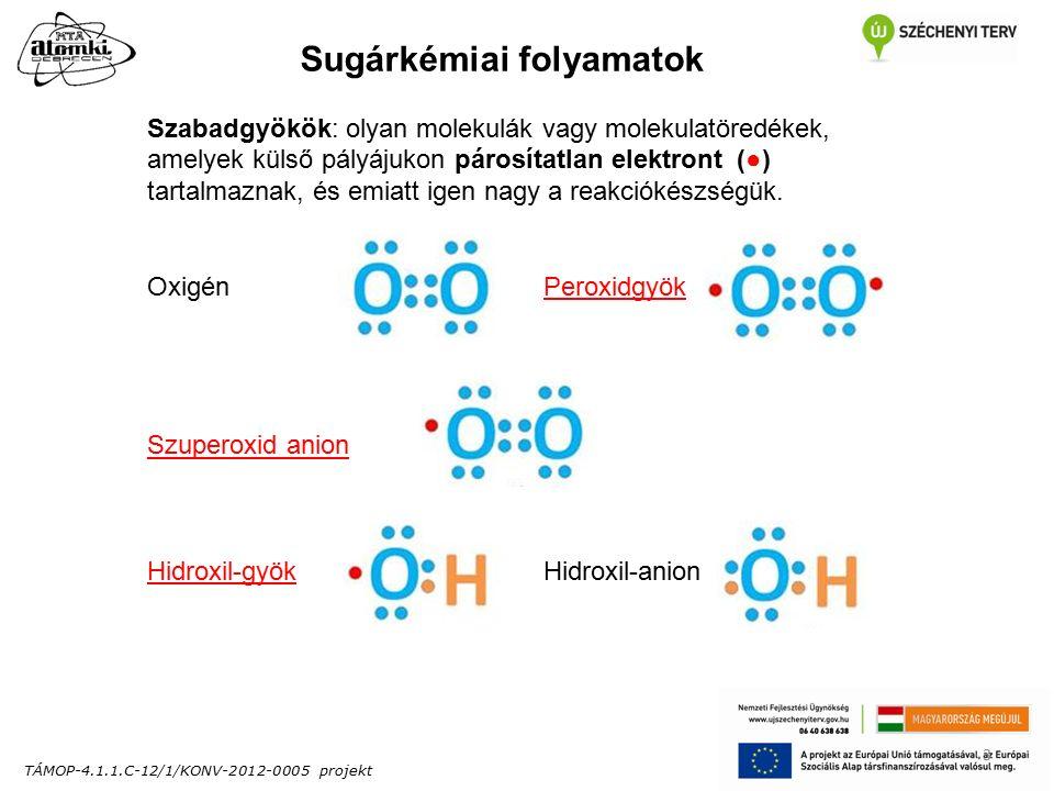 TÁMOP-4.1.1.C-12/1/KONV-2012-0005 projekt 3 Sugárkémiai folyamatok Szabadgyökök: olyan molekulák vagy molekulatöredékek, amelyek külső pályájukon párosítatlan elektront (●) tartalmaznak, és emiatt igen nagy a reakciókészségük.