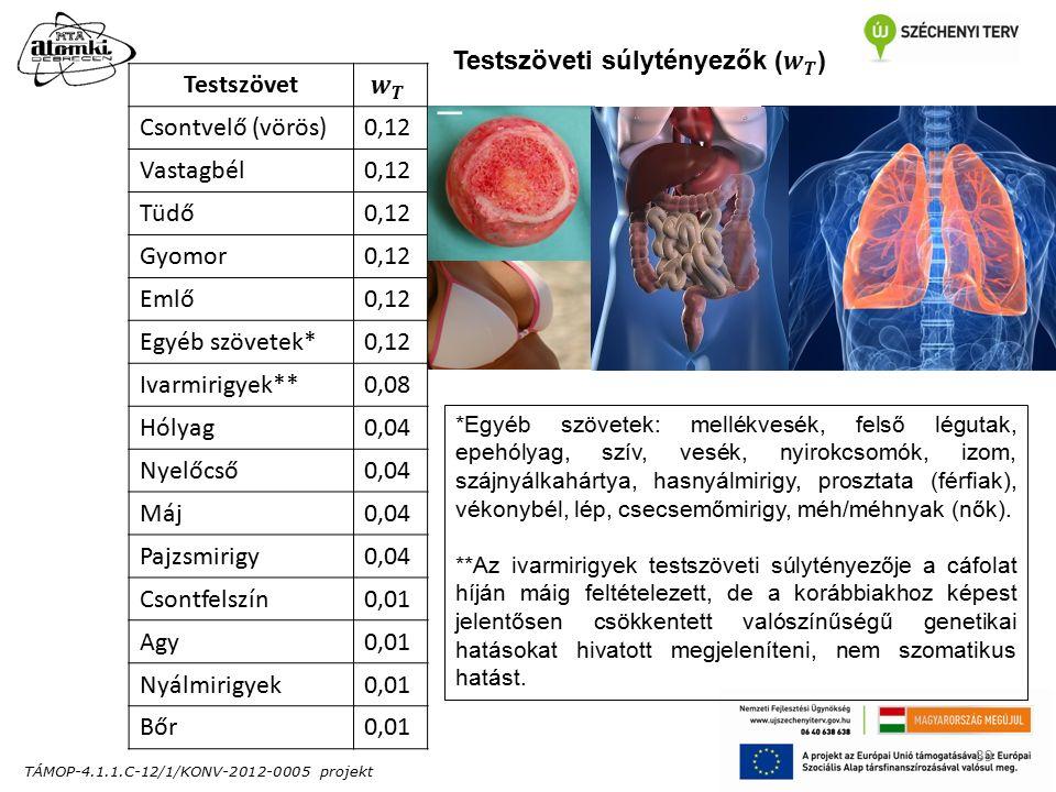 TÁMOP-4.1.1.C-12/1/KONV-2012-0005 projekt 39 Testszövet Csontvelő (vörös)0,12 Vastagbél0,12 Tüdő0,12 Gyomor0,12 Emlő0,12 Egyéb szövetek*0,12 Ivarmirigyek**0,08 Hólyag0,04 Nyelőcső0,04 Máj0,04 Pajzsmirigy0,04 Csontfelszín0,01 Agy0,01 Nyálmirigyek0,01 Bőr0,01 *Egyéb szövetek: mellékvesék, felső légutak, epehólyag, szív, vesék, nyirokcsomók, izom, szájnyálkahártya, hasnyálmirigy, prosztata (férfiak), vékonybél, lép, csecsemőmirigy, méh/méhnyak (nők).