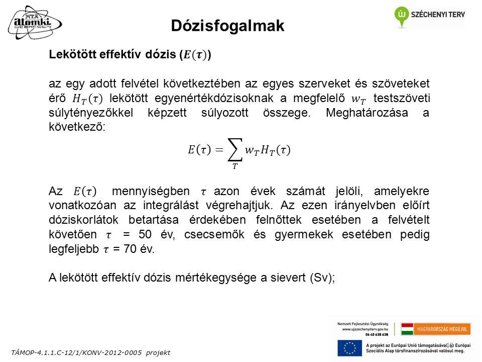TÁMOP-4.1.1.C-12/1/KONV-2012-0005 projekt 40 Dózisfogalmak