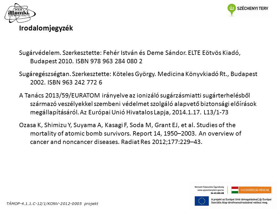 TÁMOP-4.1.1.C-12/1/KONV-2012-0005 projekt 41 Irodalomjegyzék Sugárvédelem.