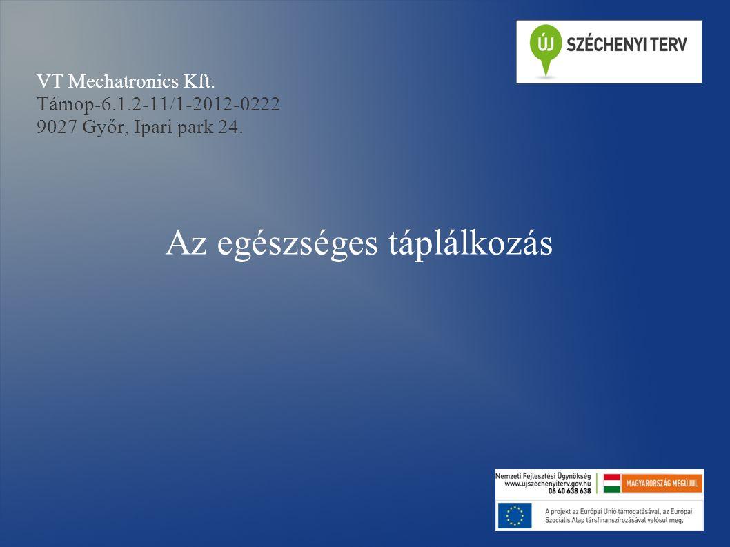 VT Mechatronics Kft. Támop-6.1.2-11/1-2012-0222 9027 Győr, Ipari park 24. Az egészséges táplálkozás