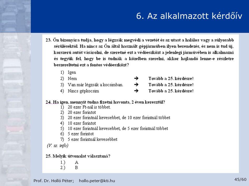 Prof. Dr. Holló Péter; hollo.peter@kti.hu 45/60 6. Az alkalmazott kérdőív