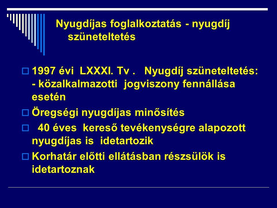  1997 évi LXXXI. Tv. Nyugdíj szüneteltetés: - közalkalmazotti jogviszony fennállása esetén  Öregségi nyugdíjas minősítés  40 éves kereső tevékenysé