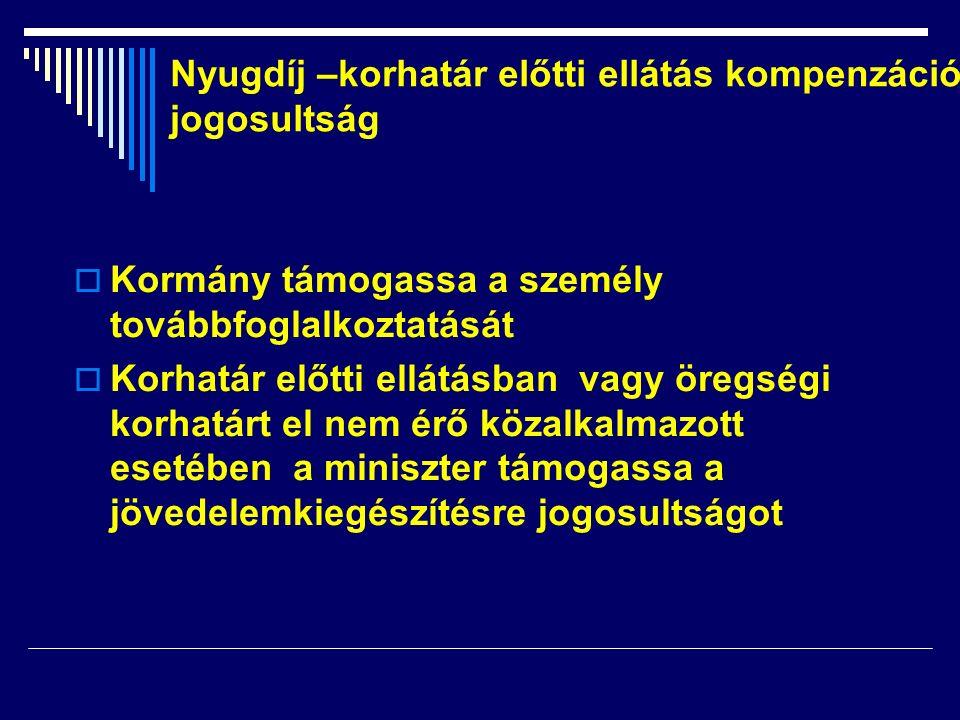  Kormány támogassa a személy továbbfoglalkoztatását  Korhatár előtti ellátásban vagy öregségi korhatárt el nem érő közalkalmazott esetében a miniszt