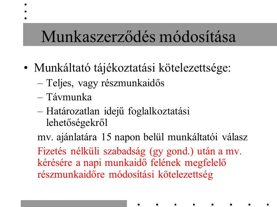 Munkaszerződés módosítása Munkáltató tájékoztatási kötelezettsége: –Teljes, vagy részmunkaidős –Távmunka –Határozatlan idejű foglalkoztatási lehetőségekről mv.