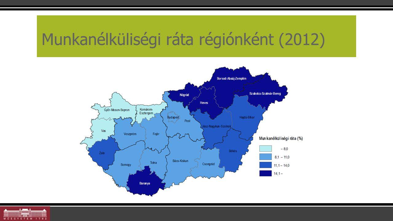 Munkanélküliségi ráta régiónként (2012) 21