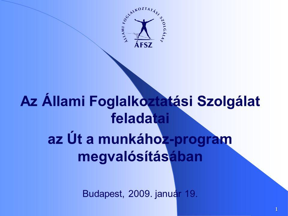 1 Az Állami Foglalkoztatási Szolgálat feladatai az Út a munkához-program megvalósításában Budapest, 2009. január 19.