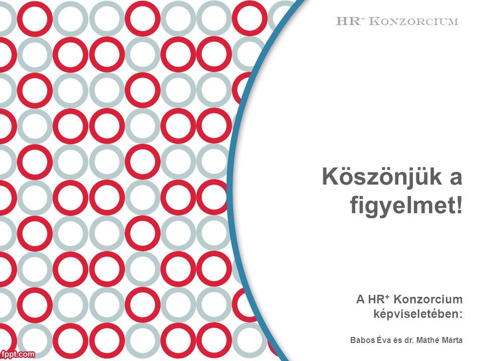 Köszönjük a figyelmet! A HR + Konzorcium képviseletében: Babos Éva és dr. Máthé Márta HR + K ONZORCIUM