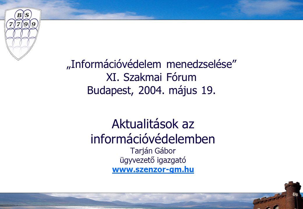 """""""Információvédelem menedzselése XI. Szakmai Fórum Budapest, 2004."""