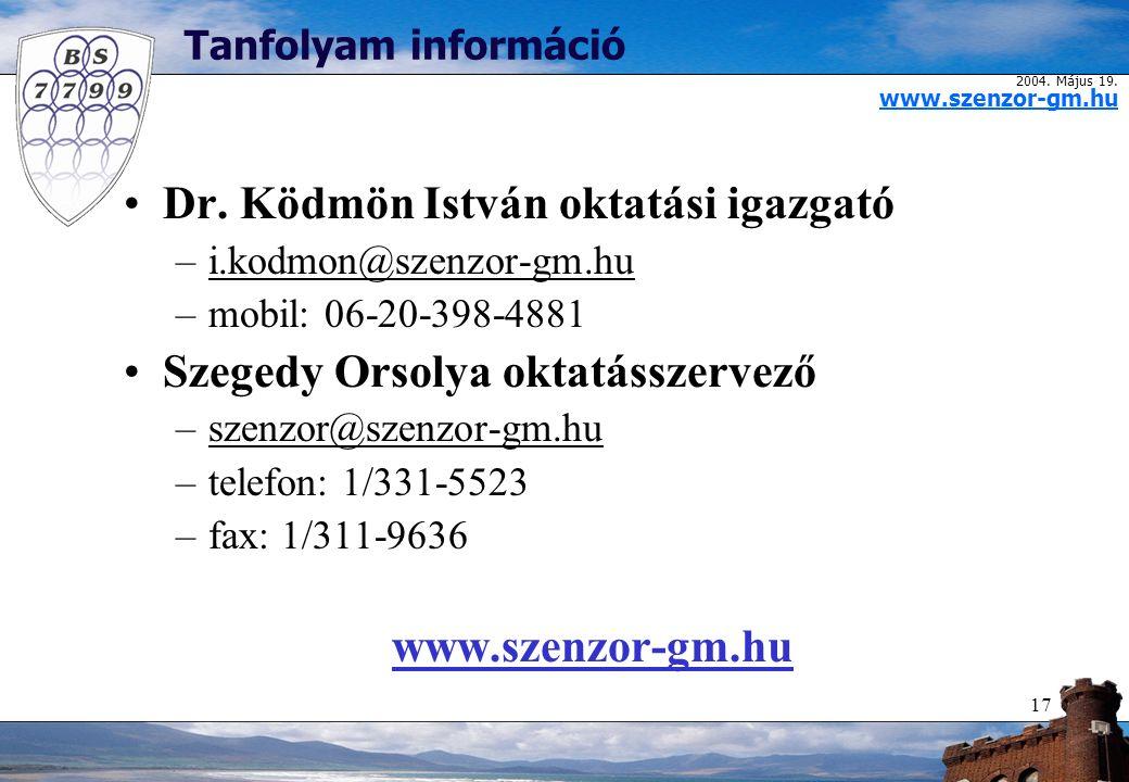 2004. Május 19. www.szenzor-gm.hu 17 Tanfolyam információ Dr.