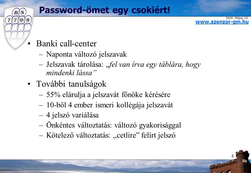 2004. Május 19. www.szenzor-gm.hu 8 Password-ömet egy csokiért.