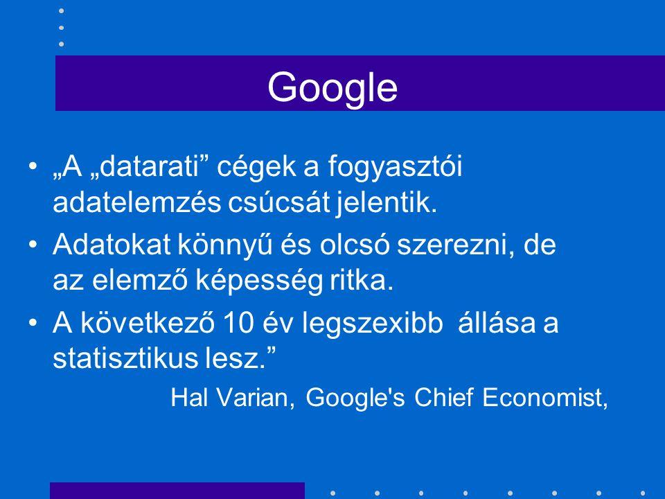 """Google """"A """"datarati"""" cégek a fogyasztói adatelemzés csúcsát jelentik. Adatokat könnyű és olcsó szerezni, de az elemző képesség ritka. A következő 10 é"""