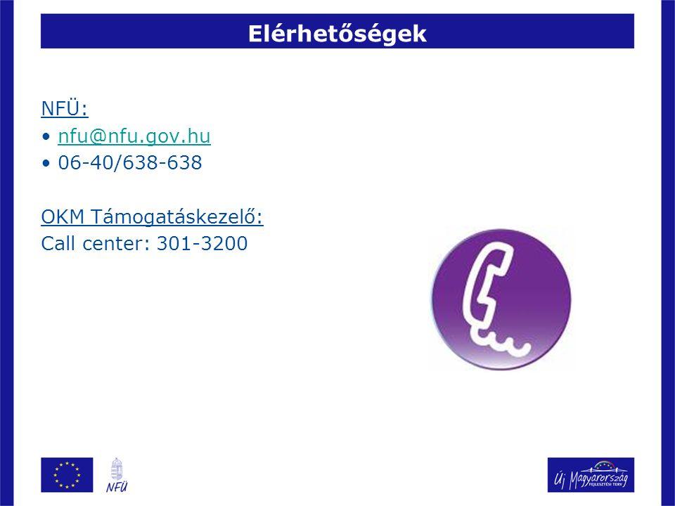 Elérhetőségek NFÜ: nfu@nfu.gov.hu 06-40/638-638 OKM Támogatáskezelő: Call center: 301-3200