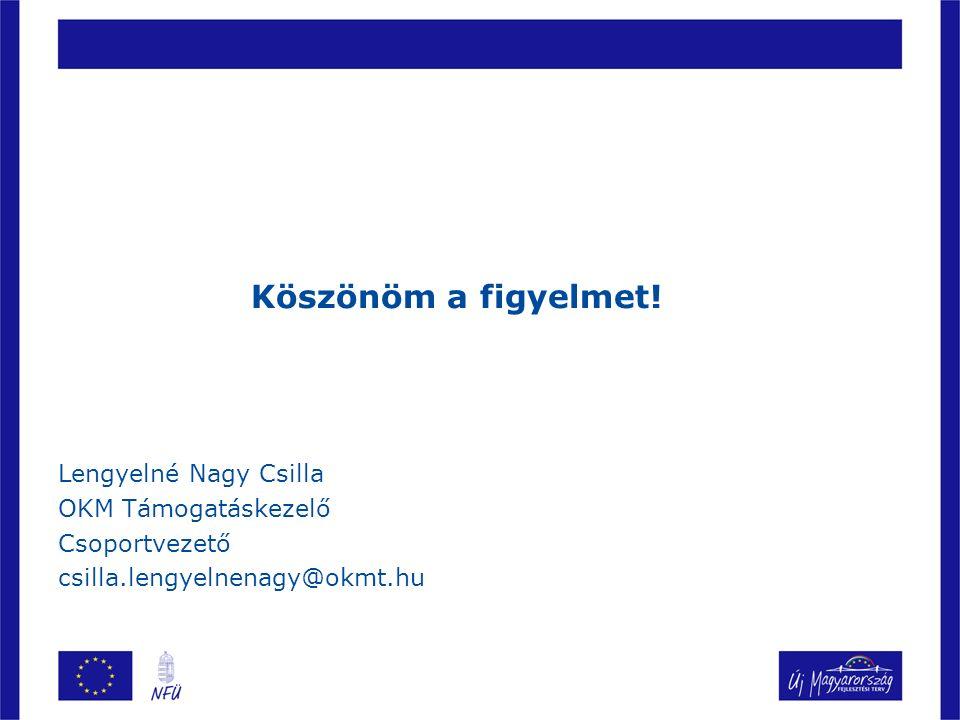 Köszönöm a figyelmet! Lengyelné Nagy Csilla OKM Támogatáskezelő Csoportvezető csilla.lengyelnenagy@okmt.hu