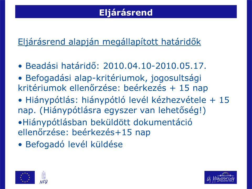 Eljárásrend Eljárásrend alapján megállapított határidők Beadási határidő: 2010.04.10-2010.05.17. Befogadási alap-kritériumok, jogosultsági kritériumok