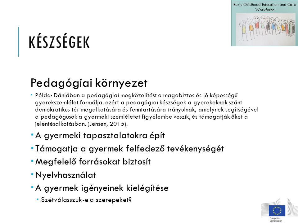 KÉSZSÉGEK Pedagógiai környezet  Példa: Dániában a pedagógiai megközelítést a magabiztos és jó képességű gyerekszemlélet formálja, ezért a pedagógiai készségek a gyerekeknek szánt demokratikus tér megalkotására és fenntartására irányulnak, amelynek segítségével a pedagógusok a gyermeki szemléletet figyelembe veszik, és támogatják őket a jelentésalkotásban.