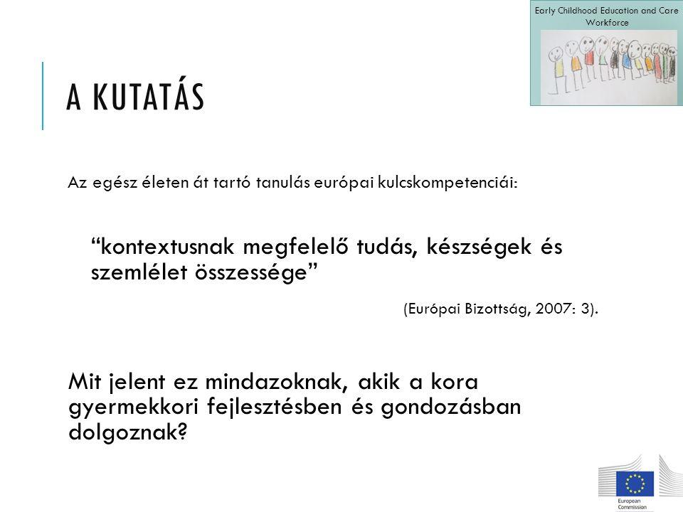 A KUTATÁS Az egész életen át tartó tanulás európai kulcskompetenciái: kontextusnak megfelelő tudás, készségek és szemlélet összessége (Európai Bizottság, 2007: 3).