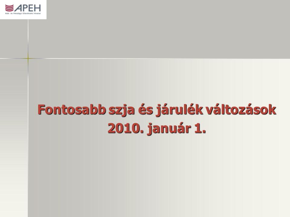 Fontosabb szja és járulék változások 2010. január 1.